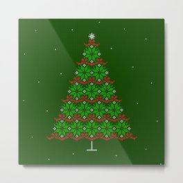 Fair isle knitted Christmas tree and snow Metal Print
