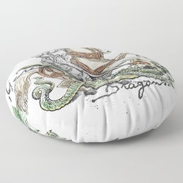Here be Dragons Floor Pillow
