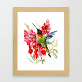 Collared Inca Hummingbird and Coral Pink Flowers Framed Art Print