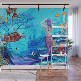 A Fish of a Different Color - Mermaid and seaturtle Wall Mural