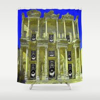 old school Shower Curtains featuring Old School by Nicholas Bremner - Autotelic Art