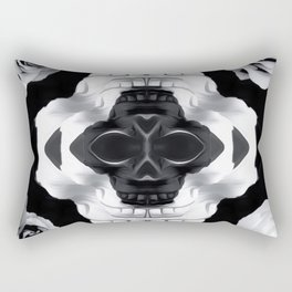 funny skull portrait with roses in black and white Rectangular Pillow
