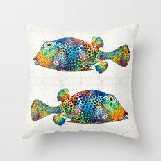 Puffer Fish Art - Puff Love - By Sharon Cummings Throw Pillow