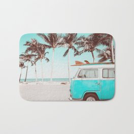 Retro Camper Van With Surf Board Bath Mat