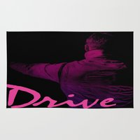 ryan gosling Area & Throw Rugs featuring Ryan Gosling in Drive by 2b2dornot2b