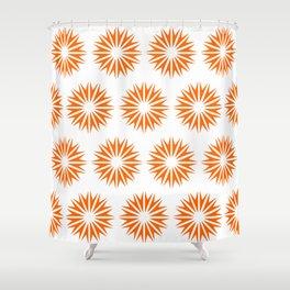 Tangerine Modern Sunbursts Shower Curtain