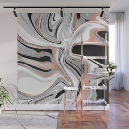 Liquid Marble with Copper Lines 015 Wall Mural