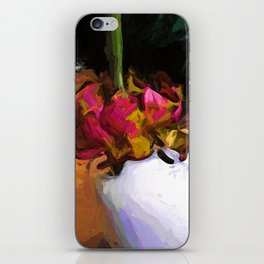 Dying Flower of Pink and Red in a White Vase iPhone Skin