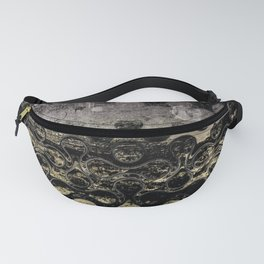 Distressed Silver Gold Multi Pattern Abstract Fanny Pack