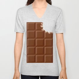 Chocolate Sweet Bar with a bite out of the corner Unisex V-Neck