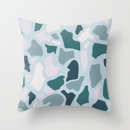 Abstract Terrazzo - Teal & Turquoise Throw Pillow