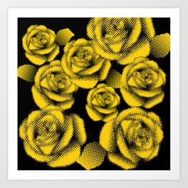 Yellow Halftone Roses Art Print