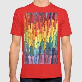 fuck-off in rainbow power T-shirt
