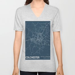 Colchester Blueprint Street Map, Colchester Colour Map Prints Unisex V-Neck