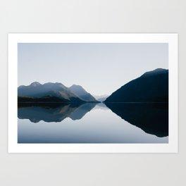 Mountains Reflection in Calm Lake Art Print