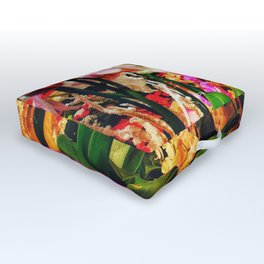 Orchids in the Market Outdoor Floor Cushion