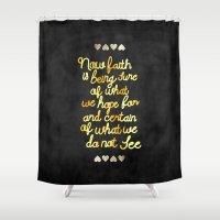 faith Shower Curtains featuring Faith  by Perrin Le Feuvre