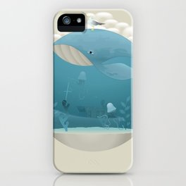 Seagull rest over whale iPhone Case