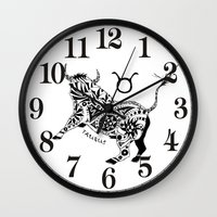 taurus Wall Clocks featuring Taurus by Anna Shell