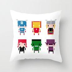 Pixel Avengers Throw Pillow