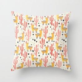 Yellow Llamas Red Cacti Throw Pillow