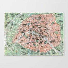 Vintage map of Paris Canvas Print