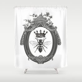 Queen Bee | Vintage Bee with Crown | Black, White and Grey | Shower Curtain
