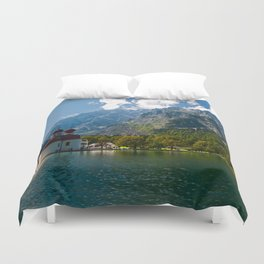 Outdoors, Church, Alps Mountains, Koenigssee Lake Duvet Cover