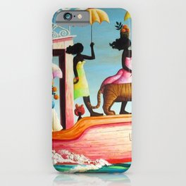 African American Masterpiece 'Too Early or Too Late' by O. Bulman iPhone Case