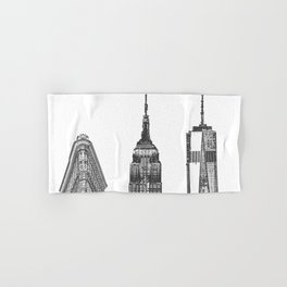 New York City Iconic Buildings-Empire State, Flatiron, One World Trade Hand & Bath Towel