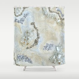Neutral Glam Abstract Agate Geode Crystal Painting Shower Curtain