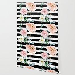 Rose Arrangement on Black Stripes No. 1 Wallpaper