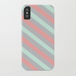 Mint, Coral and Gray Diagonal Stripes iPhone Case