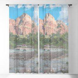 Zion National Park River Canyon Southwestern Utah Print Sheer Curtain