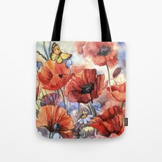 watercolor poppies Tote Bag
