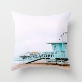 Santa Monica Pier Lifeguard Throw Pillow