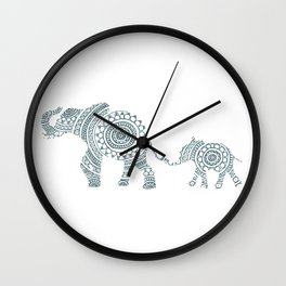 Mama Elephant Walking Baby Elephant Circle Art Wall Clock