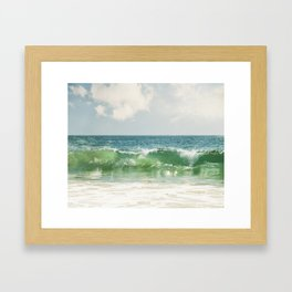 Ocean Sea Landscape Photography, Seascape Waves, Blue Green Wave Photograph Framed Art Print
