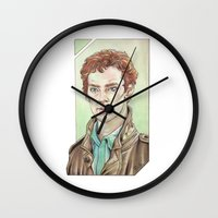benedict cumberbatch Wall Clocks featuring Benedict Cumberbatch by Jess P.