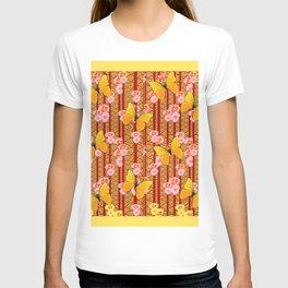 Yellow Art Deco Butterflies Pink Floral Pattern Art T-shirt