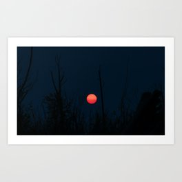 Blood Moon During Blue Hour Art Print