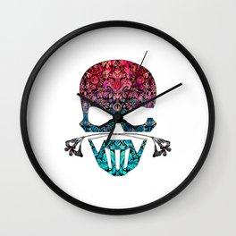 SKULL FLORAL ORNAMENTS I Wall Clock