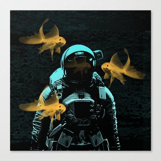 astronauts and goldfish Canvas Print