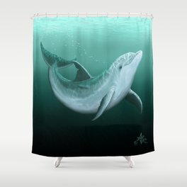"""Riversoul"" by Amber Marine ~ Indian River Lagoon bottlenose dolphin art, (Copyright 2014) Shower Curtain"