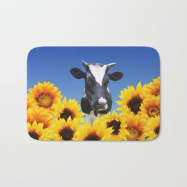 Cow black and white with sunflowers Bath Mat