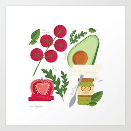 Avocado and pesto Art Print