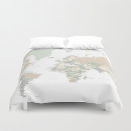 "World map with cities, ""Anouk"" Duvet Cover"