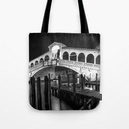 VENICE Rialto Bridge at Night | Monochrome Tote Bag