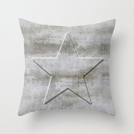 Solid Star in grey conrete Throw Pillow