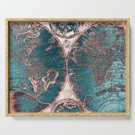 Antique World Map Pink Quartz Teal Blue by Nature Magick Serving Tray